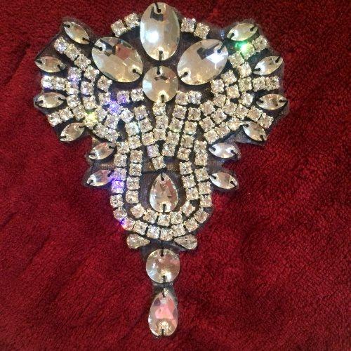 """XR230 Rhinestone Applique Crystal w/ Black Backing Bridal Patch 4.5"""""""