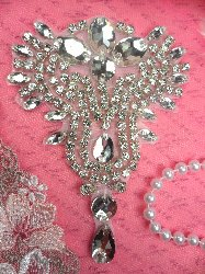RMXR230 REDUCED Crystal Rhinestone Designer Applique 4.5""