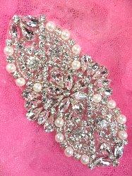 """XR232 Bridal Motif Silver Crystal Clear Rhinestone Applique w/ Pearls 3.5"""""""