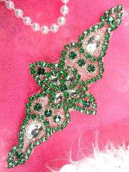 """XR237 Green Crystal Rhinestone Silver Beaded  Applique 6"""""""