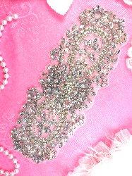 """XR241 Bridal Sash DIY Crystal Rhinestone Applique Floral Designer 8"""""""
