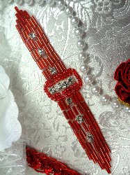 """XR242 Red Beaded Crystal Rhinestone Applique Sewing Patch 4.75"""""""