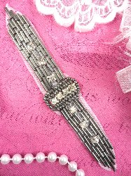 """XR242 Pewter Crystal Beaded Applique Sewing Patch 4.75"""""""
