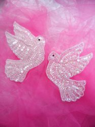 XR244 Dove Appliques Crystal AB Mirror Pair Beaded Edge Spiritual Crafts Patch