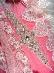 "XR245 Large Crystal Rhinestone Applique Bridal Sash Motif Silver Beaded & Glass 16.5"""