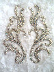 RMXR24 Crystal AB Rhinestone REDUCED Appliques Mirror Pair Motifs 8""