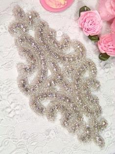 """XR25  Crystal Clear Glass Silver Beaded Rhinestone Applique 6"""""""