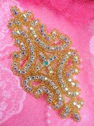 """XR25 Aurora Borealis Crystal AB Rhinestone Gold Beaded Applique 6"""""""