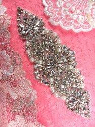 """XR250 Bridal Motif Silver Crystal Clear Rhinestone Applique w/ Pearls 6"""""""