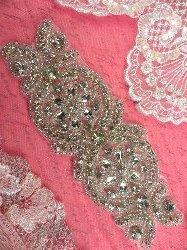 """XR251 Crystal Rhinestone Applique Bridal Sash Motif Silver Beaded & Glass 6.75"""""""