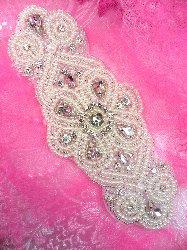 """XR253 Elegant Bridal Motif Silver Crystal Clear Rhinestone Applique w/ Pearls 7"""""""
