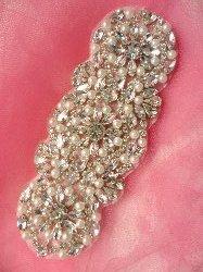 """XR255 Crystal Rhinestone Applique Silver Settings w/ Pearls 6"""""""