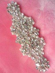 """XR256 Crystal Rhinestone Applique Silver Settings w/ Pearls 6"""""""