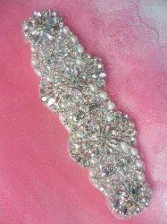 """XR259 Crystal Rhinestone Applique Silver Settings w/ Pearls 6.5"""""""