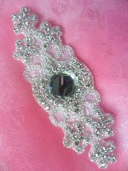 XR261 Crystal Rhinestone Applique Silver Beaded 6""