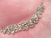 """XR262 Crystal Rhinestone Applique Embellishment Silver Settings 9"""""""