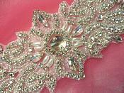 """XR265 Crystal Rhinestone Applique Silver Beaded w/ Pearls 11.5"""""""