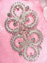 XR266 Silver Crystal Clear Rhinestone Applique Embellishment 4.75""