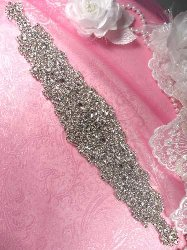 XR267 Glass Bridal Sash Beadless Clustered Rhinestone Applique 13.25""