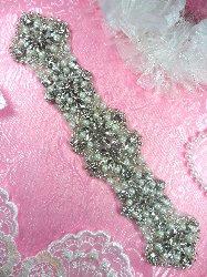 """XR272 Bridal Sash Motif Silver Crystal Clear Glass Rhinestone Applique with Pearls 9.5"""""""