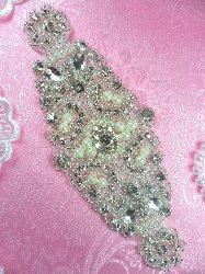 """XR273 Bridal Sash Motif Silver Crystal Clear Glass Rhinestone Applique with Pearls 7"""""""