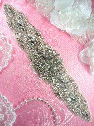 """XR274 Bridal Sash Crystal Rhinestone Applique Silver Beaded 9.5"""""""