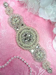 XR275 Round Center Bridal Sash Motif Silver Beaded Crystal Clear Glass Applique with Pearls 9""