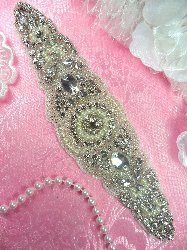 """XR276 Bridal Sash Motif Silver Crystal Clear Glass Rhinestone Applique with Pearls 8"""""""