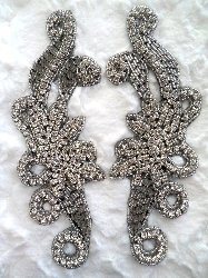XR27 Black Backing Crystal Rhinestone Appliques Silver Beaded Mirror Pair 7.5""