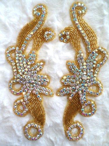 "XR27 Gold Beaded Crystal AB Aurora Borealis Rhinestone Appliques Mirror Pair 7.5"""
