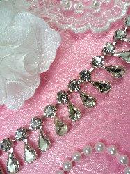 """XR281 Rhinestone Trim Tear Drop Dangles Glass Crystal Embellishing Trim .75"""""""