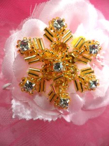 "XR284 Gold Beaded Snowflake Rhinestone Applique Star 1.5"""