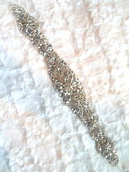 "XR285 Endless Rhinestones Crystal Rhinestone Applique Silver Setting Bridal Sash Patch Motif 13"""