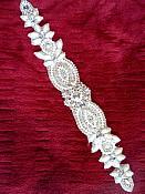 """XR287 Crystal Rhinestone Applique Silver Setting w/ Pearls Bridal Sash Patch Motif 12.5"""""""