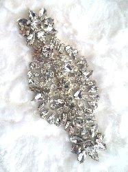 """XR288 Crystal Rhinestone Applique Silver Setting Bridal Sash Patch Motif 4.5"""""""