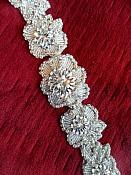 """XR292 Crystal Rhinestone Applique Silver Beaded w/ Pearls Bridal Sash Patch Motif 16.5"""""""