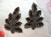 "Leaf Appliques Sequin Smoke Mirror Pair Beaded Motif 2"" (XR293X)"