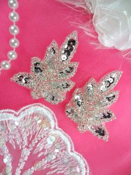 XR293 Leaf Appliques Sequin Silver Mirror Pair Beaded Motif 2""