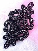 "Applique Black Rhinestones Black Beaded Victorian Motif Patch 4"" (XR295)"