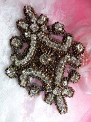 "XR298 Crystal Rhinestone Bronze Beaded Applique 4"""