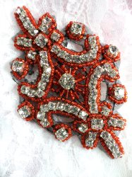 XR298 Black Backing Crystal Rhinestone Red Beaded Applique 4""