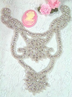 XR30 Bodice Glass Beaded Rhinestone Applique 7
