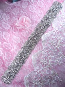 XR304 Bridal Sash Motif Silver Crystal Clear Glass Rhinestone Applique 18.5""