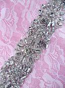 """ON SALE!! Crystal Rhinestone Bridal Sash Applique Motif18"""" XR308"""