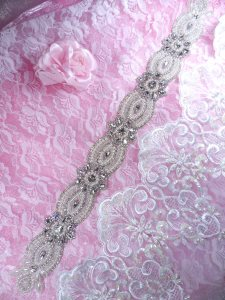 """XR309 Crystal Rhinestone Pearl Applique Bridal Sash Patch Motif 18.5"""""""