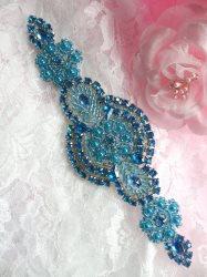 "XR314 Turquoise Beaded Rhinestone Applique 6"""