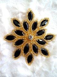 "XR32  Applique Black Gold Beaded Snowflake Rhinestone Center 3"""