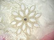 """White Silver Snowflake Beaded Applique Sewing Patch 3"""" (XR32)"""