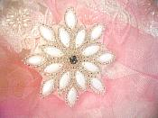 "White Silver Snowflake Beaded Applique Sewing Patch 3"" (XR32)"