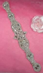 """XR321 Bridal Sash Motif Silver Beaded Crystal Rhinestone Applique 11.75"""""""